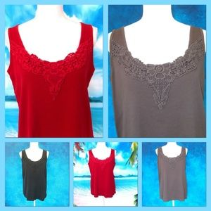 Bundle of Three Lane Bryant Lace Tanks Size 14/16